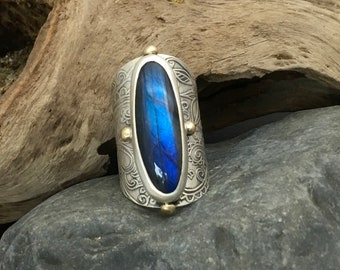 Large deep dark blue labradorite ring, wide sterling silver band, brass balls, fits about a size 6, measures size 6 & 5/8