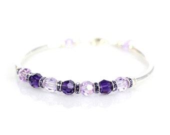 Purple crystal bracelet, Swarovski crystal, violet bracelet, purple bracelet, spring bracelet, fitted bracelet, sterling silver