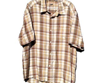 Large Quicksilver Madras Plaid Shirt