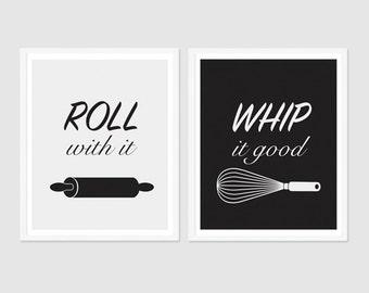 Kitchen Art, Kitchen Utensils Art, Rolling Pin Print, Whisk Print, Kitchen Puns, Black and White Kitchen Art, Wall Art