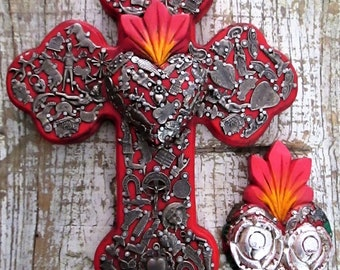 Red Milagro Heart and Cross Set, Corazon, Milagro Charms, 5th Anniversary Gift, Wood Anniversary. Ex Voto, ExVotos