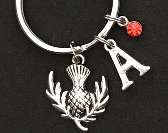 Personalized Scottish Thistle Keychain