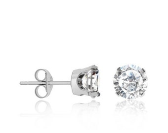 Sterling Silver 925 rhodium plated round cubic zirconia c.z studs earrings - silver studs earrings - several stone size available