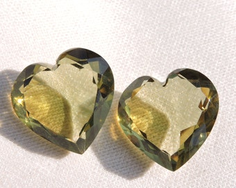 2 Pieces Extremely Beautiful Green Amethyst Quartz Faceted Carved Heart Shaped Briolette Size 17X17 MM