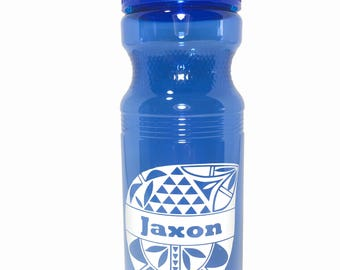 Customized First Name Only Blue 24 Ounce Water Bottle with Native Design