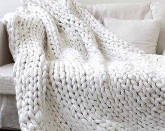 Arm Knit Chunky Blanket **Handmade**