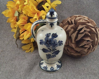 Vintage Delft Bottle - Holland Cruet with Stopper - Blue and White Small Decanter - Windmill and Floral Design - Hoppe Delft
