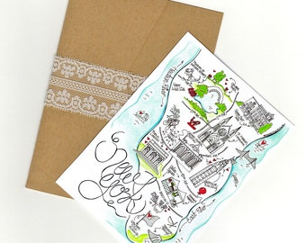 New York City Map/ Invitation/ Save the Date COLOURED