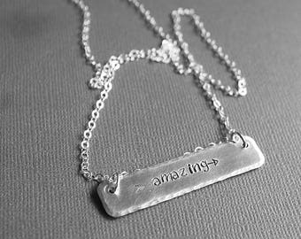 Amazing Necklace - Hand Stamped Jewelry - Inspiration Jewelry