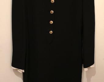 Vintage 90's Lauren Sara Size 10 Black Maxi Dress V-Neck - LONG Front Slit - Excellent Condition!
