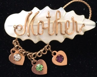 """Vintage Mother of Pearl Name Brooch, """"Mother"""" with Birth Stones"""
