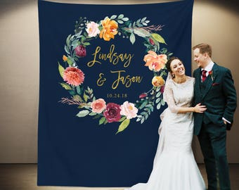 Navy Wedding Photo Booth Backdrop, Navy Gold Wedding Party Decorations, Reception Backdrop, Fall Wedding Table Background, Wedding Curtain