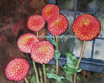 Water Color : Original Pink Zinnias Watercolor Painting. Zinnia painting. Watercolor art. Watercolor floral. Zinnia wall art. Zinnia picture