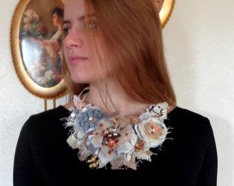Necklace  boho style,  fabric flowers, fashion, shabby chick, flowers necklace, fabric jewelry, eco jewelry