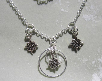 Unique Celtic Three Star Charm Necklace Sterling Silver