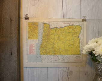 1940-Oregon Map-WWII Era Map-Beautiful map of Oregon-Vintage Map-Colorful Atlas Map-Gift-Home Decor
