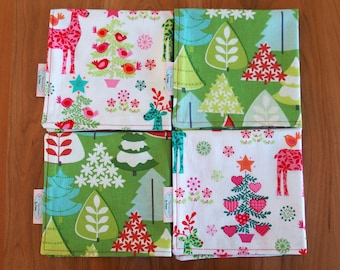 Christmas Cocktail Napkins or Lunchbox Napkins (4) with Reindeer and Christmas Trees, Mix and Match Napkins, Holiday Napkins, Hostess Gift
