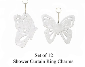 Decorative Shower Curtain Ring Charms... Cut and Pierced Butterflies