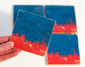 New York Skyline Coaster Set (4 Stone Coasters, USA Edition: Red, White, and Blue) NYC Cityscape Home Decor