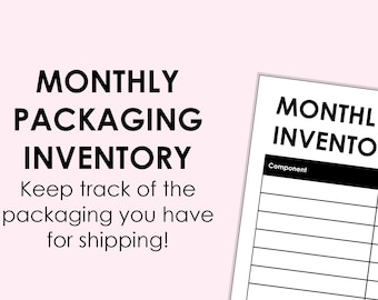 Monthly Packaging Inventory - printable download A4 size (can be scaled to A5, or Letter)
