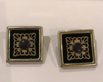 Vintage Jewelry- Vintage 1980s  Square Light Gold and Purple  Colored Earrings
