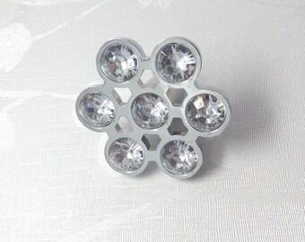 Crystal Drawer Knobs Glass Dresser Knobs Clear Cabinet Knobs Flower Drawer Pulls Silver Dresser Handles Bling Furniture Hardware