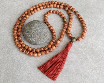 Palmwood Mala Beads with Unakite - 108 Mala - Wood Bead Tassel Necklace - Item # 994