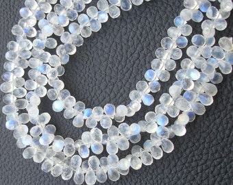 8 Inch Long Strand, Gorgeous Quality Blue Flashy Rainbow Moonstone Faceted Drops Shaped Briolettes, 5-6mm Long size,GORGEOUS