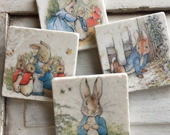 Tuiles de Pierre dessous de verre/art Peter Rabbit - lot de 4