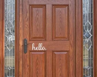 hello / door decal / door / welcome / decor / front door / decal