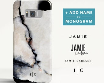 Marble Samsung Galaxy S8 case Samsung Galaxy S9 case Samsung Galaxy S8 Plus case Personalised Initials Phone case for Samsung. (MB06)
