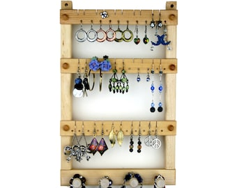Jewelry Display - Wood Earring Holder, Basswood, Hanging, plus Necklace Holder. Holds up to 30 pairs of Earrings, plus 4 pegs.