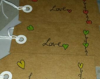 tags, heart gift tags, present tag, custom tag, parcel tag, heart gift tag, handmade tag, unique gift tag, hand drawn tag, kraftag, hang tag