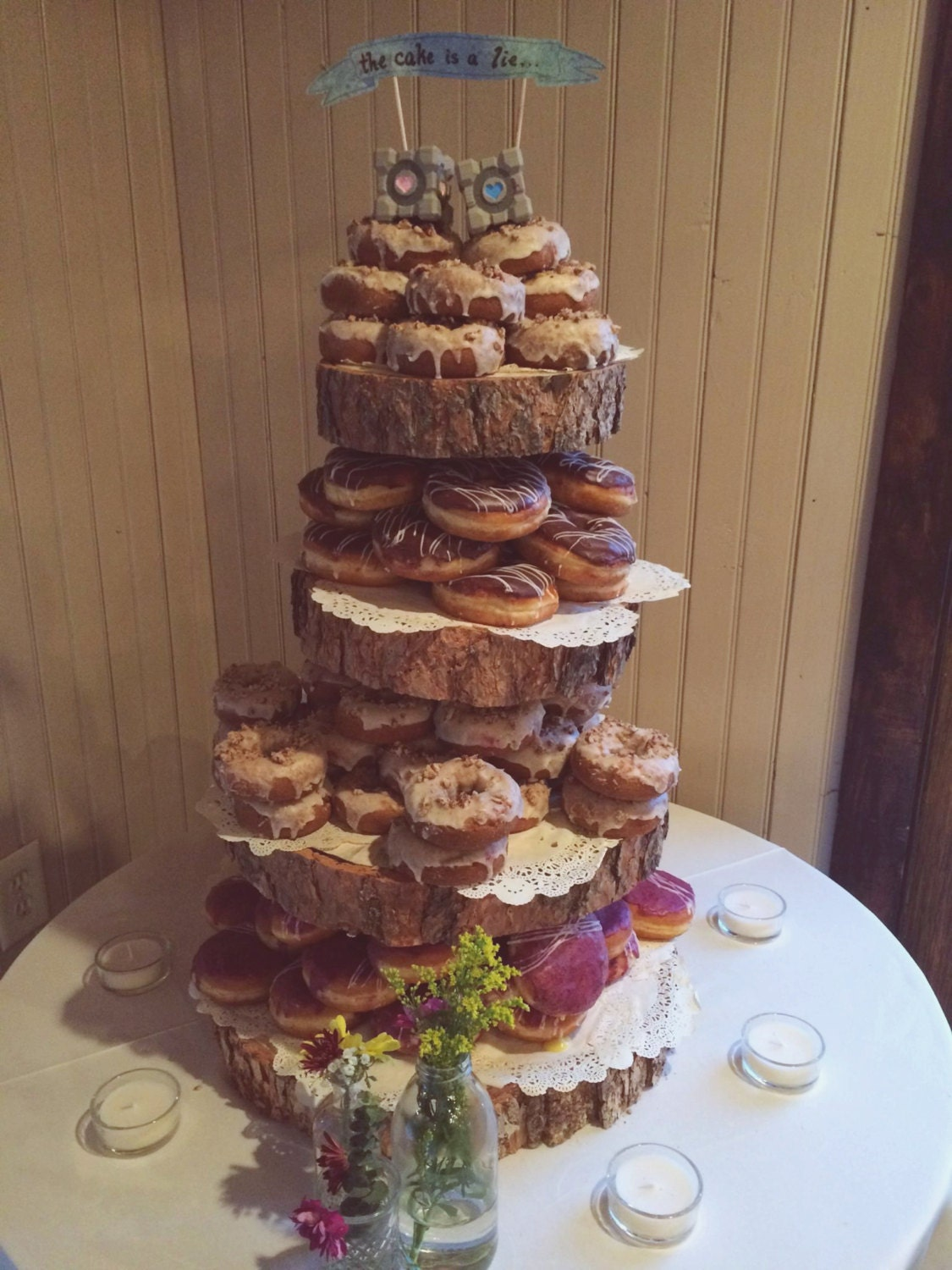 small rustic wedding cake with cupcakes rustic wood tree slice 4 tier donut or cupcake stand for your 20216