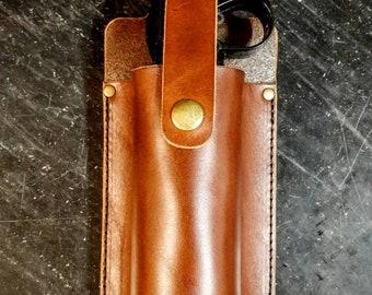 Leather bear spray holster