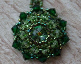 Beaded Rivoli Pendant handmade Jewelry