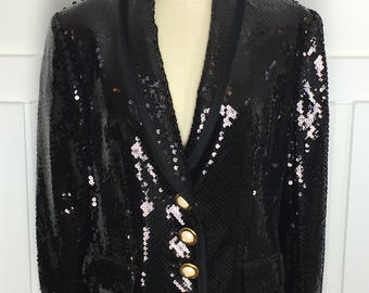 1980s/1990s STUNNING Louis Feraud Black Sequined Jacket--Sz. US 8  (SKU 10418CL)