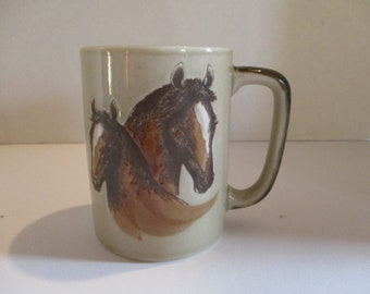 Vintage Horse Mug, Vintage Horse and Colt, Mare and Colt Coffee Cup, Trees and Fences Mug, Horse Coffee Cup, Vintage Horse Lover's Mug, Colt