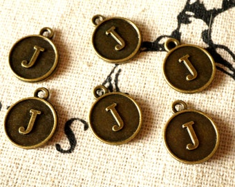Alphabet letter J charm bronze vintage style jewellery supplies C32