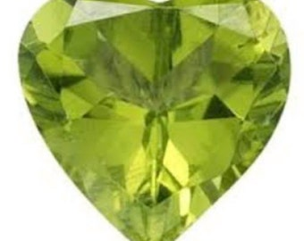 Natural Genuine Peridot AAA Heart Faceted Shape Loose Stone (4x4mm - 8x8mm)