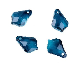 4 charms faceted glass drop serrated peacock blue or green