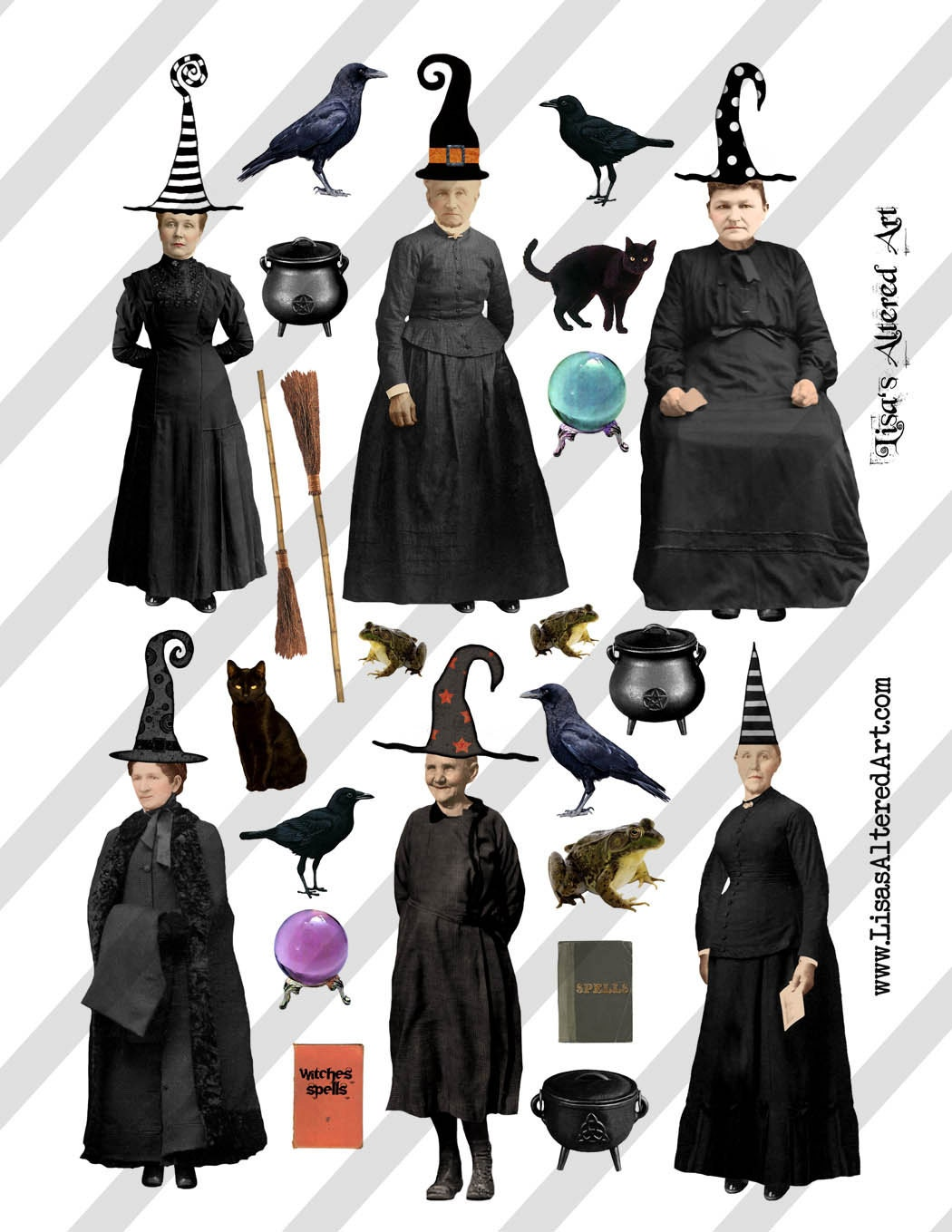 Digital collage sheet vintage Halloween witch images with