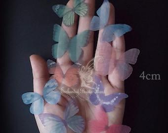 8pcs 4cm Double Sided Organza Fabric Butterfly Wings Organza Butterflies for Craft Jewelry Hat Making Earrings Findings