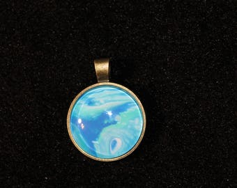 Hand Painted Glass Cabochon Bronze Setting