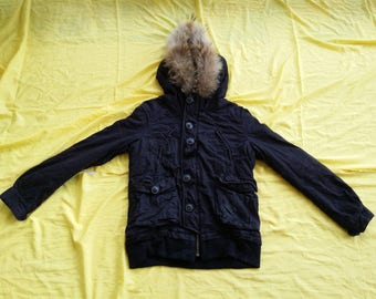 Vintage MOUSSY Military Solid Black Jacket Fur Hoodie Coat Combat Bomber Parka