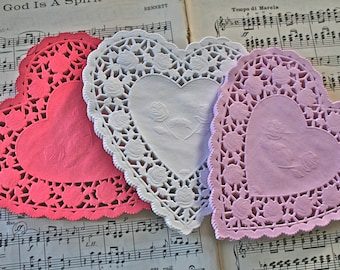 "6"" Heart Doilies, 12 of each color"