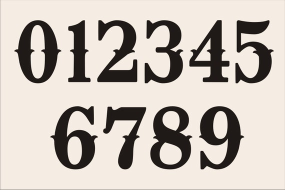NUMBER Reusable Stencils Design 002 NUMBERS 0 9 6 SIZES To