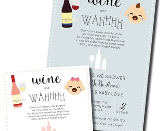 Wine Baby Shower Invitation | Wine and Wahhhh | Poppin Bottles Baby Shower Invite
