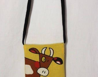 Funny cow applique shoulder bag