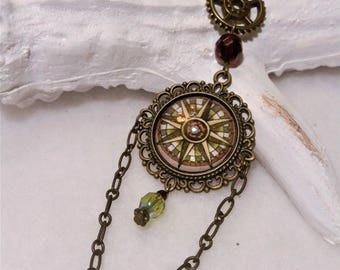 Bronze compass Rose bubble necklace